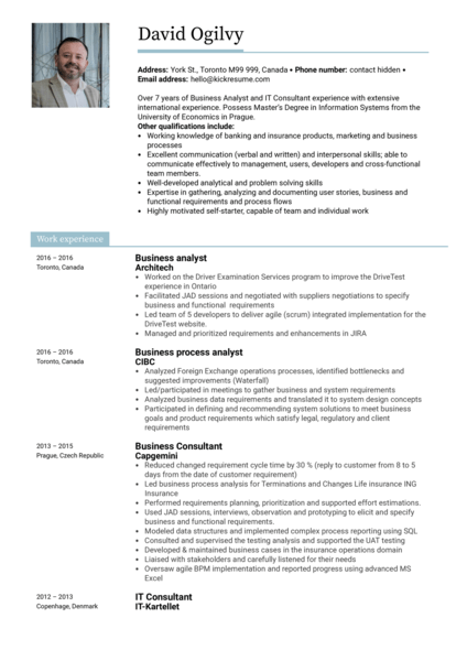 Scotiabank business analyst resume example