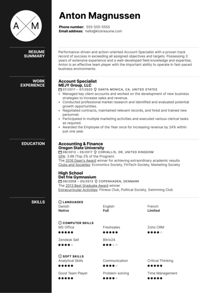 Account Specialist Resume Example