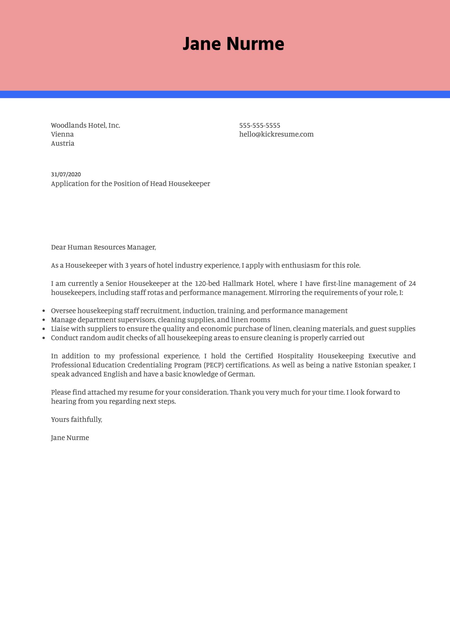 Head Housekeeper Cover Letter Example