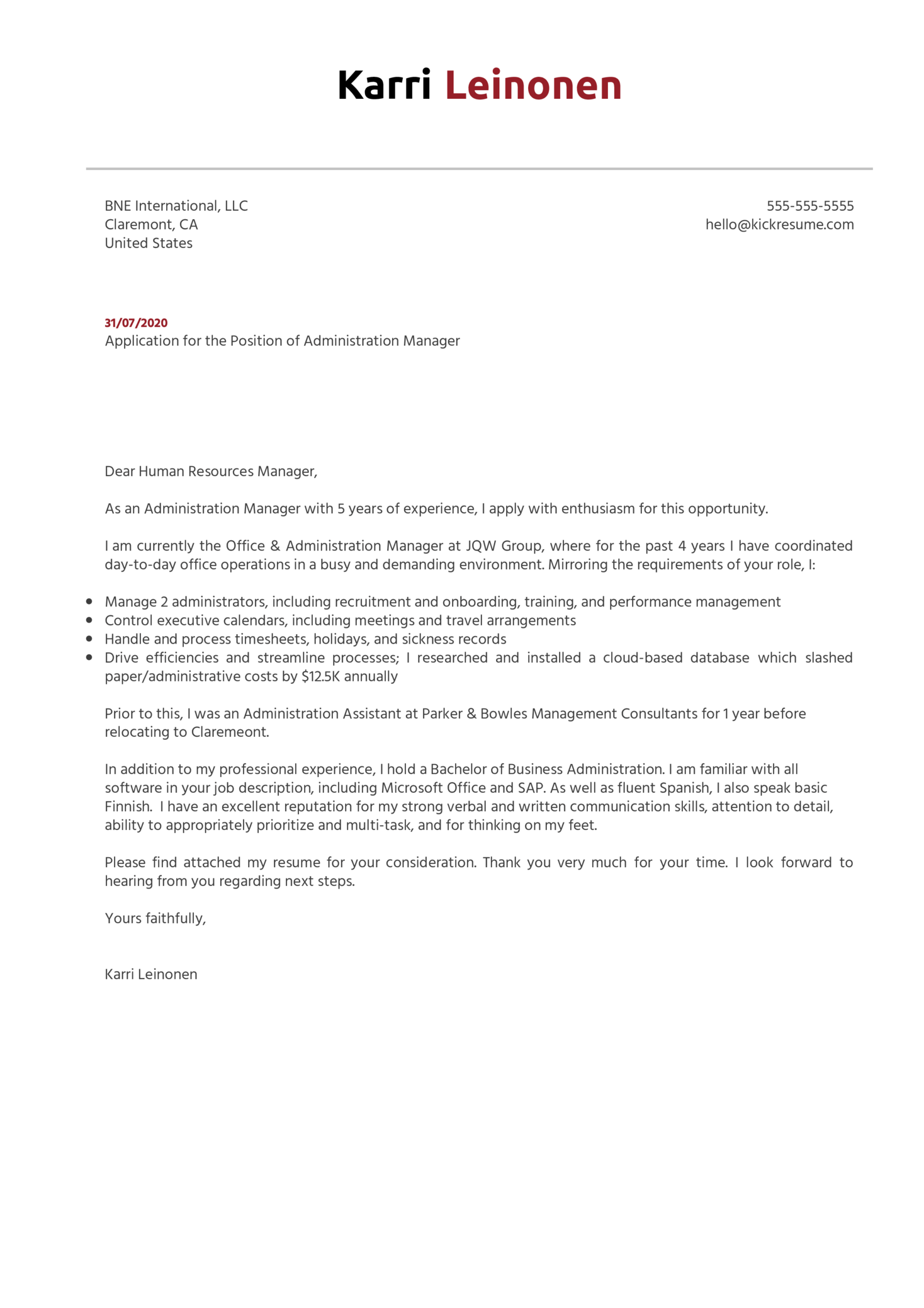 Administration Manager Cover Letter Example
