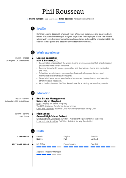 Leasing Specialist Resume Example