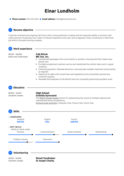 Cab Driver Resume Example