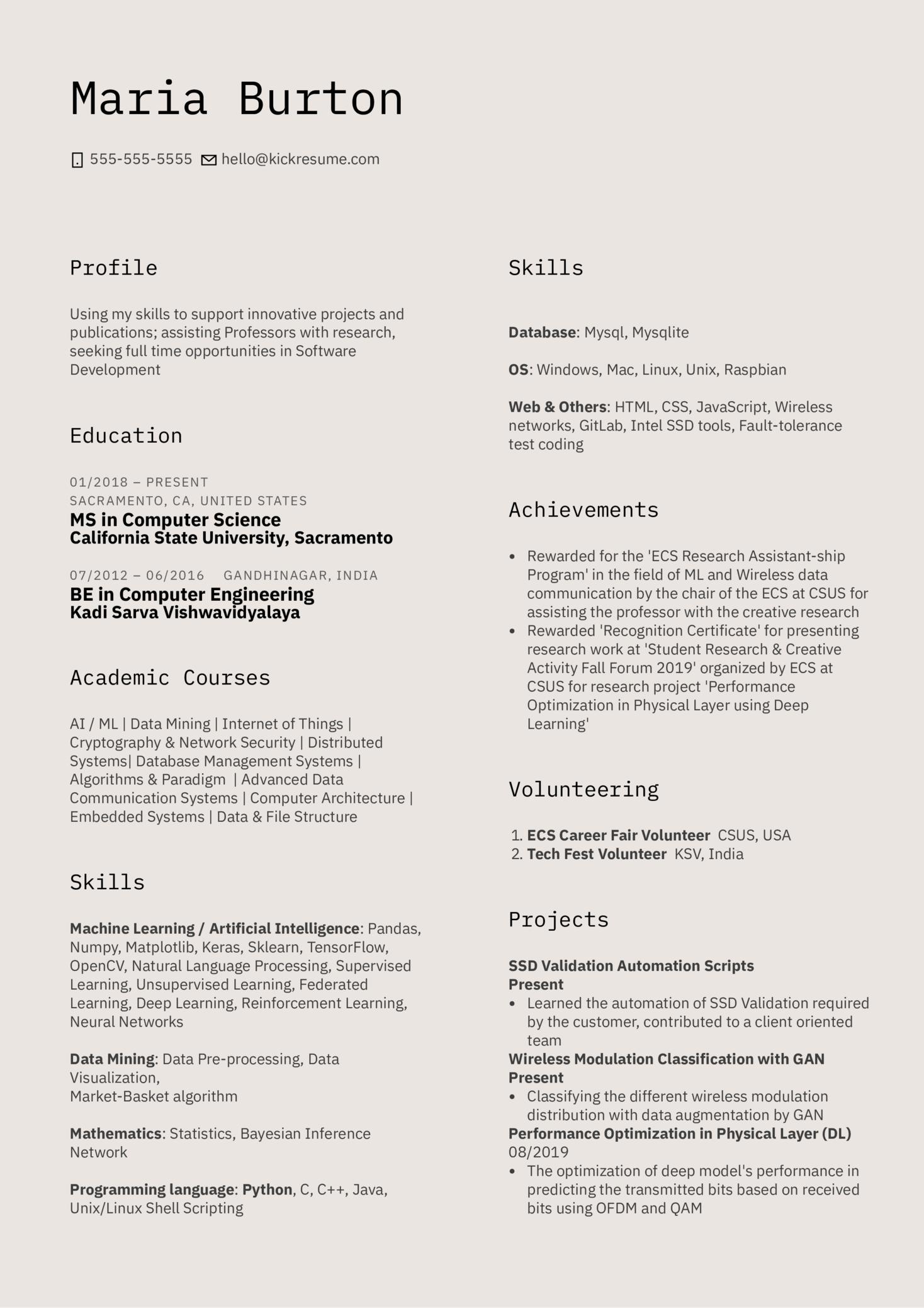 Intel Graduate Intern Resume Example (parte 1)