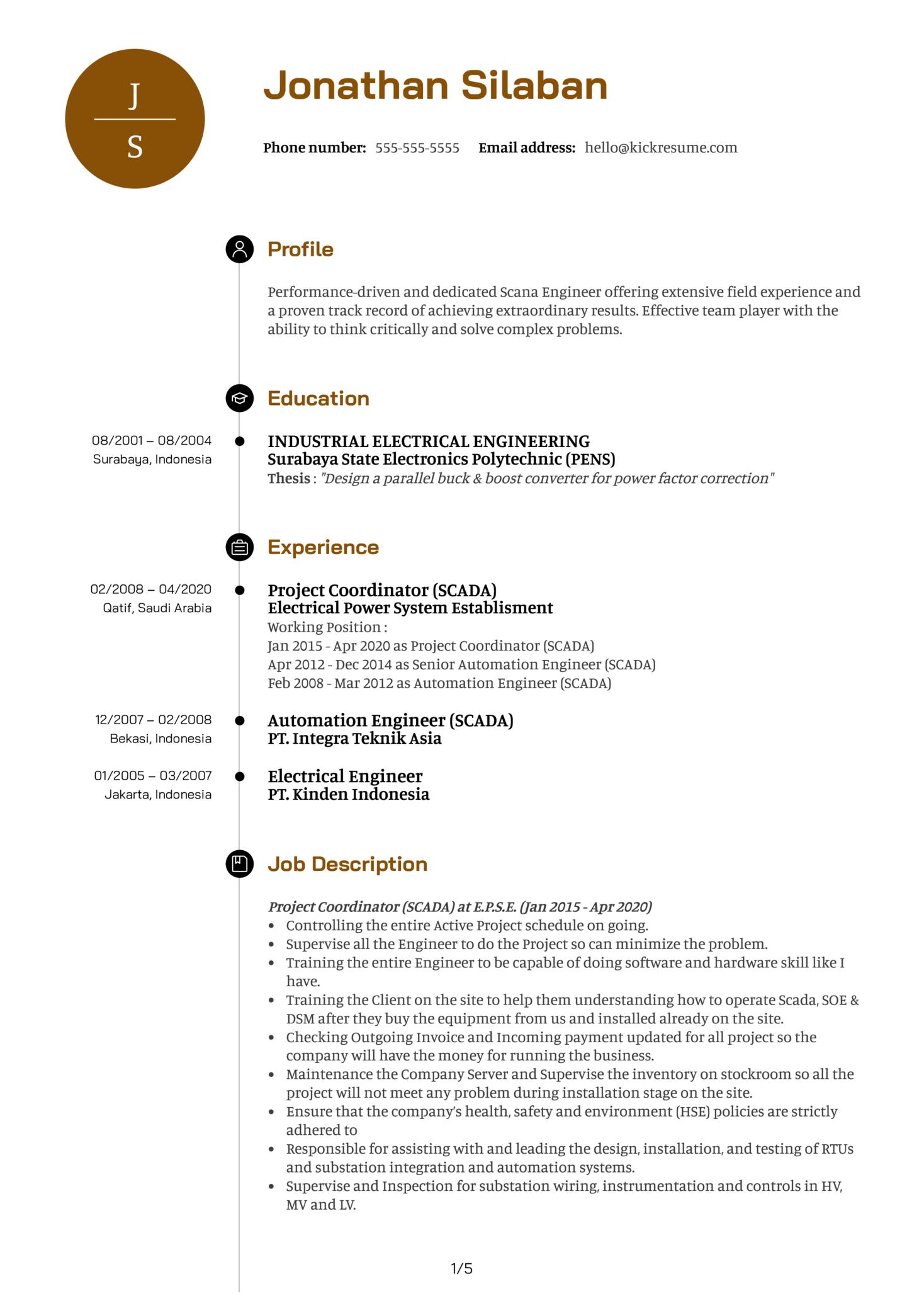 Siemens Scada Engineer Resume Example