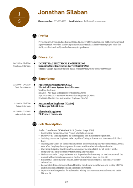 Siemens Scada Engineer Resume Example