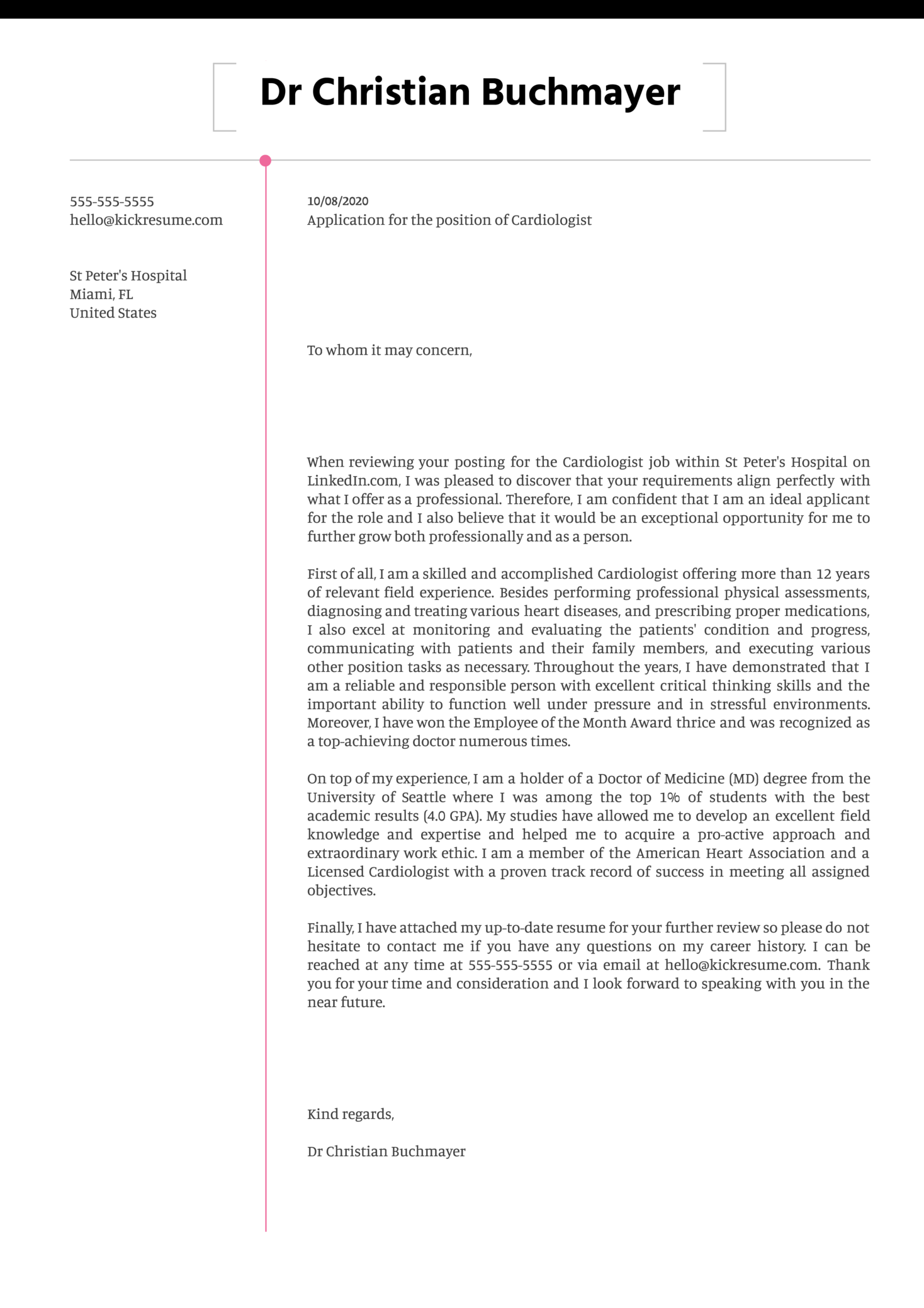 Cardiologist Cover Letter Example