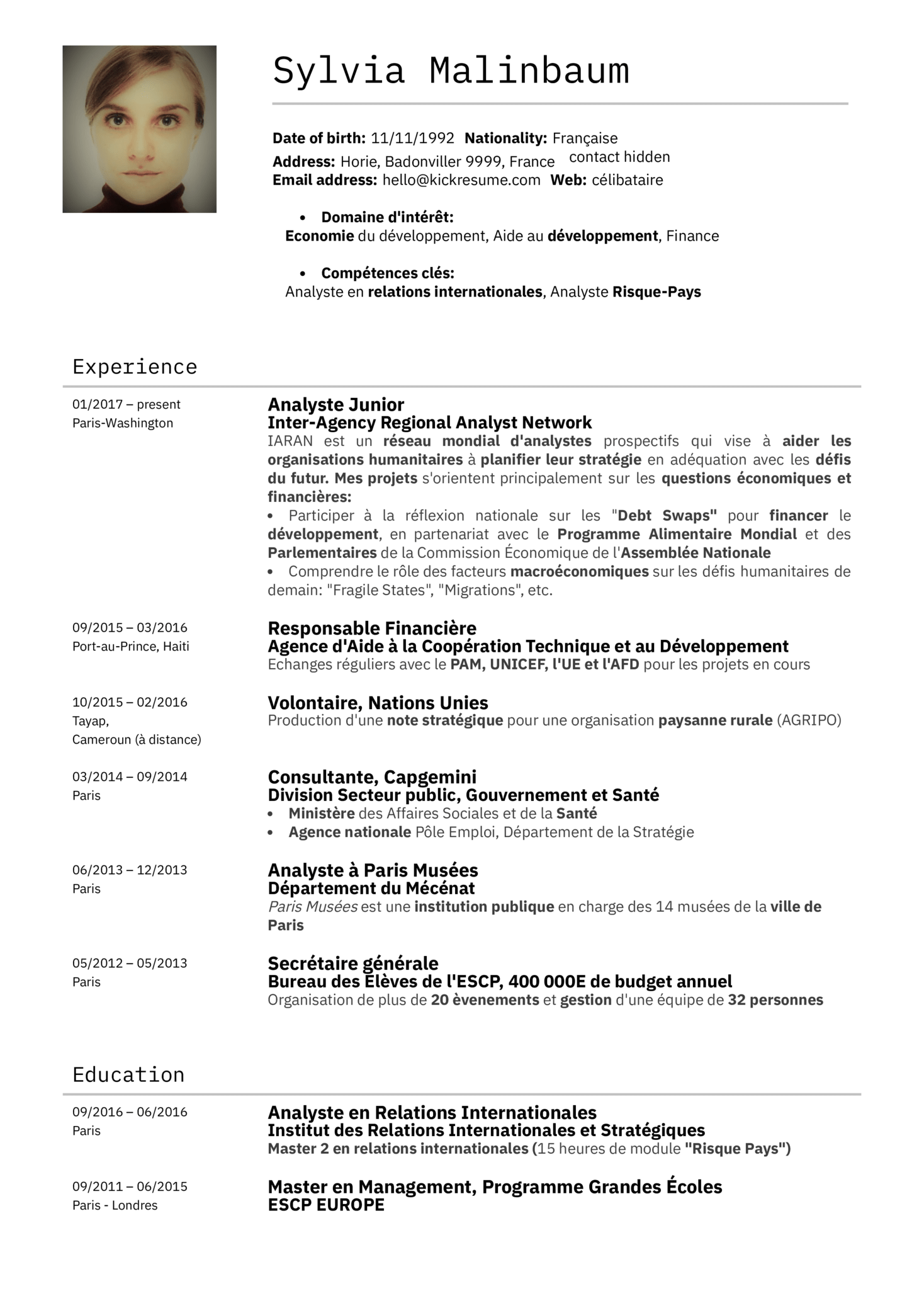 resume examples by real people  l u0026 39  u00e9conomiste du minist u00e8re des finances fran u00e7ais