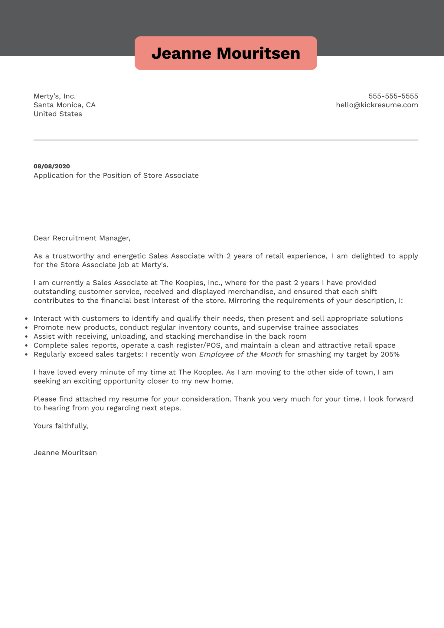 Store Associate Cover Letter Example