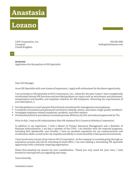 HR Specialist Cover Letter Example