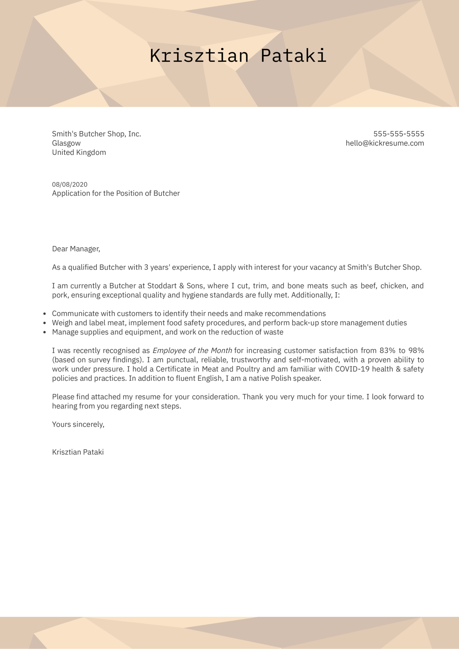 Butcher Cover Letter Example