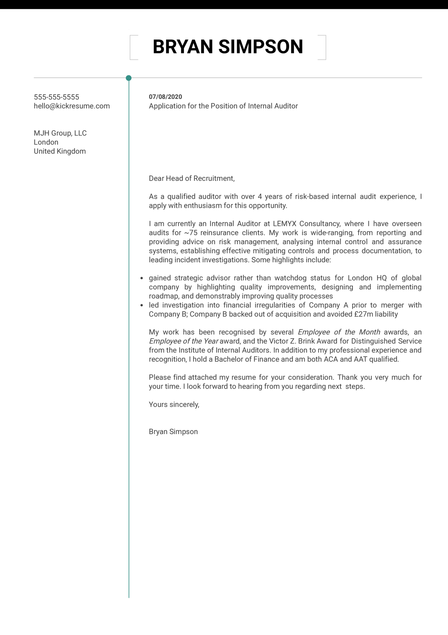 Internal Auditor Cover Letter Example
