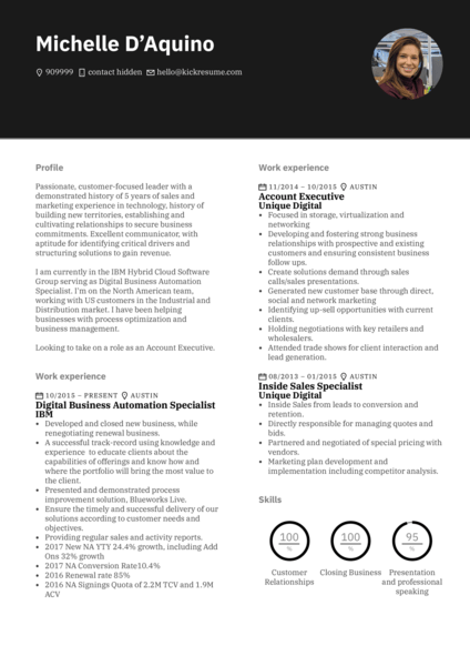 Google account executive resume example