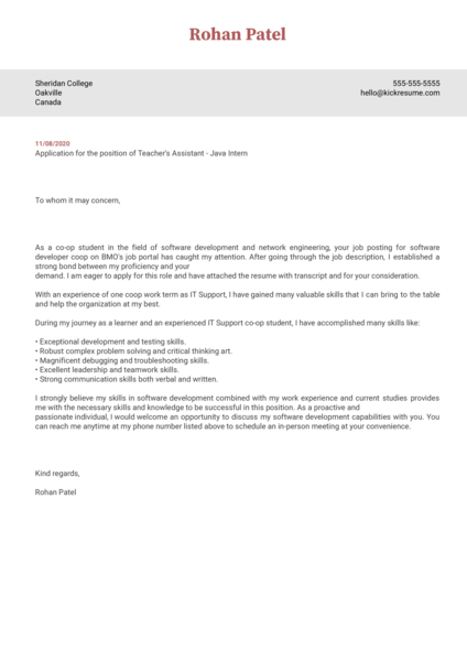 Sheridan College	Teacher's Assistant - Java Intern Cover Letter Example