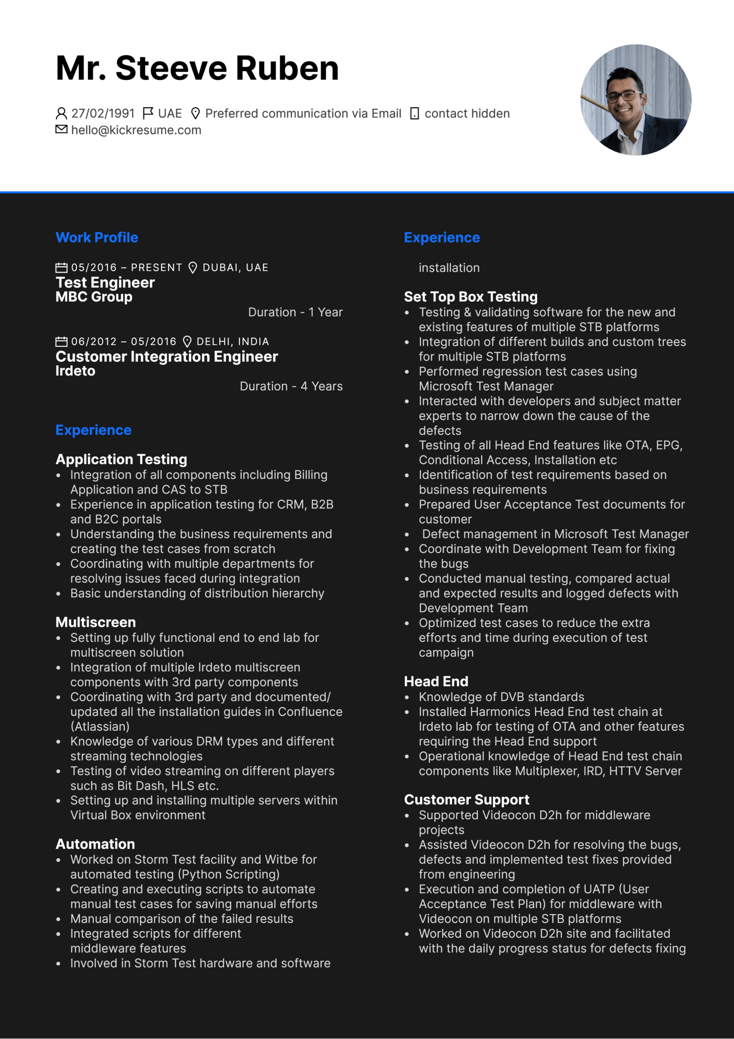 Senior Test Engineer Resume Example (Teil 1)