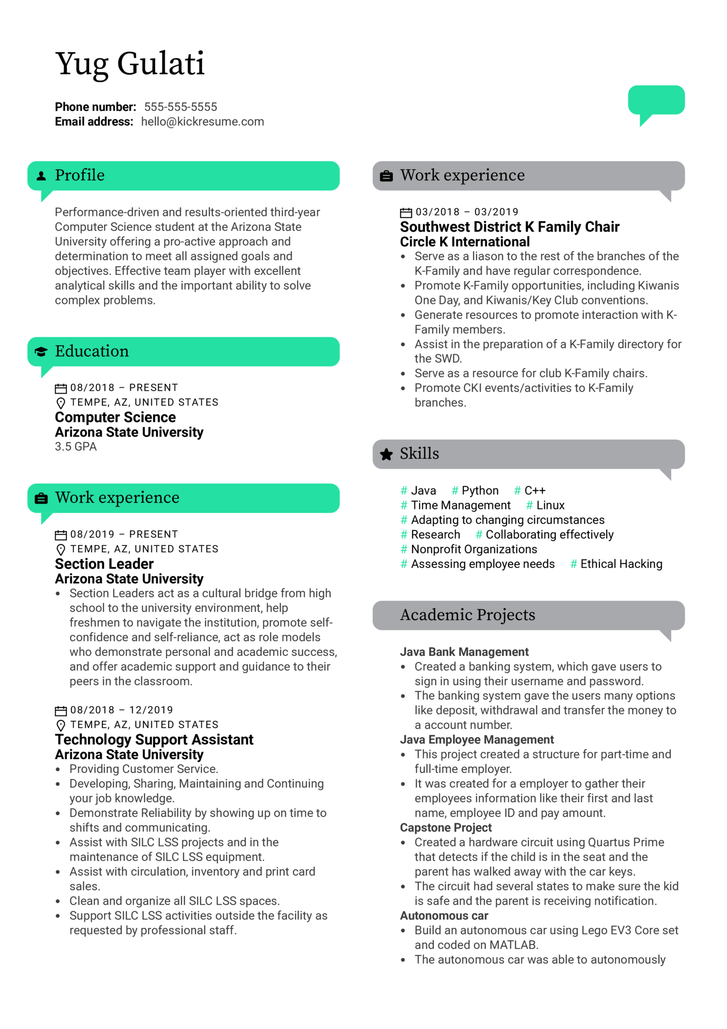 American Express Software Engineer Resume Example (Part 1)