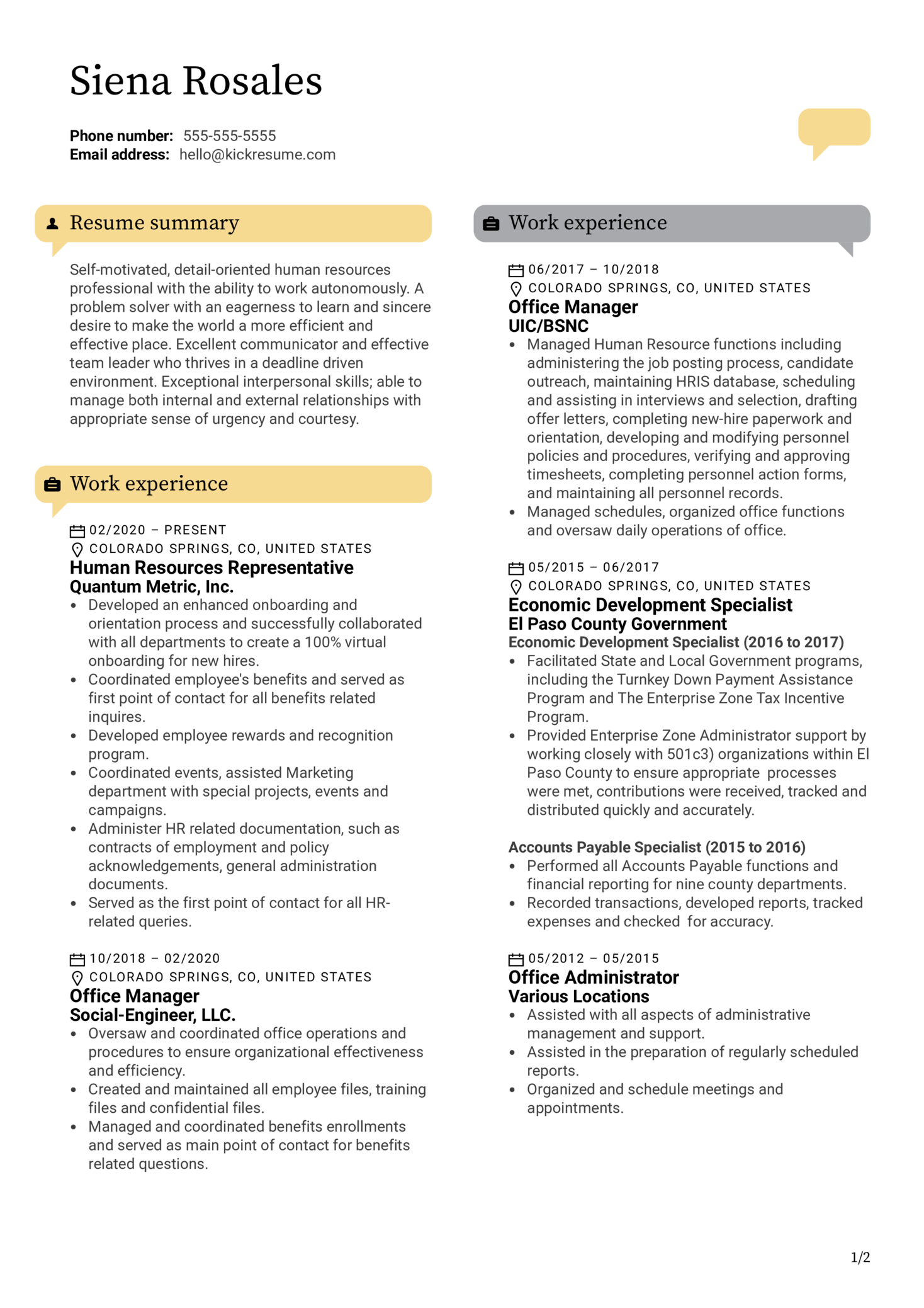HR Representative Resume Example (parte 1)