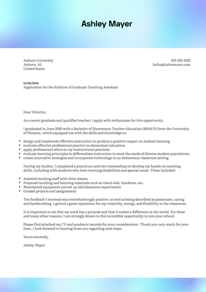 Auburn University Graduate Teaching Assistant Cover Letter Example