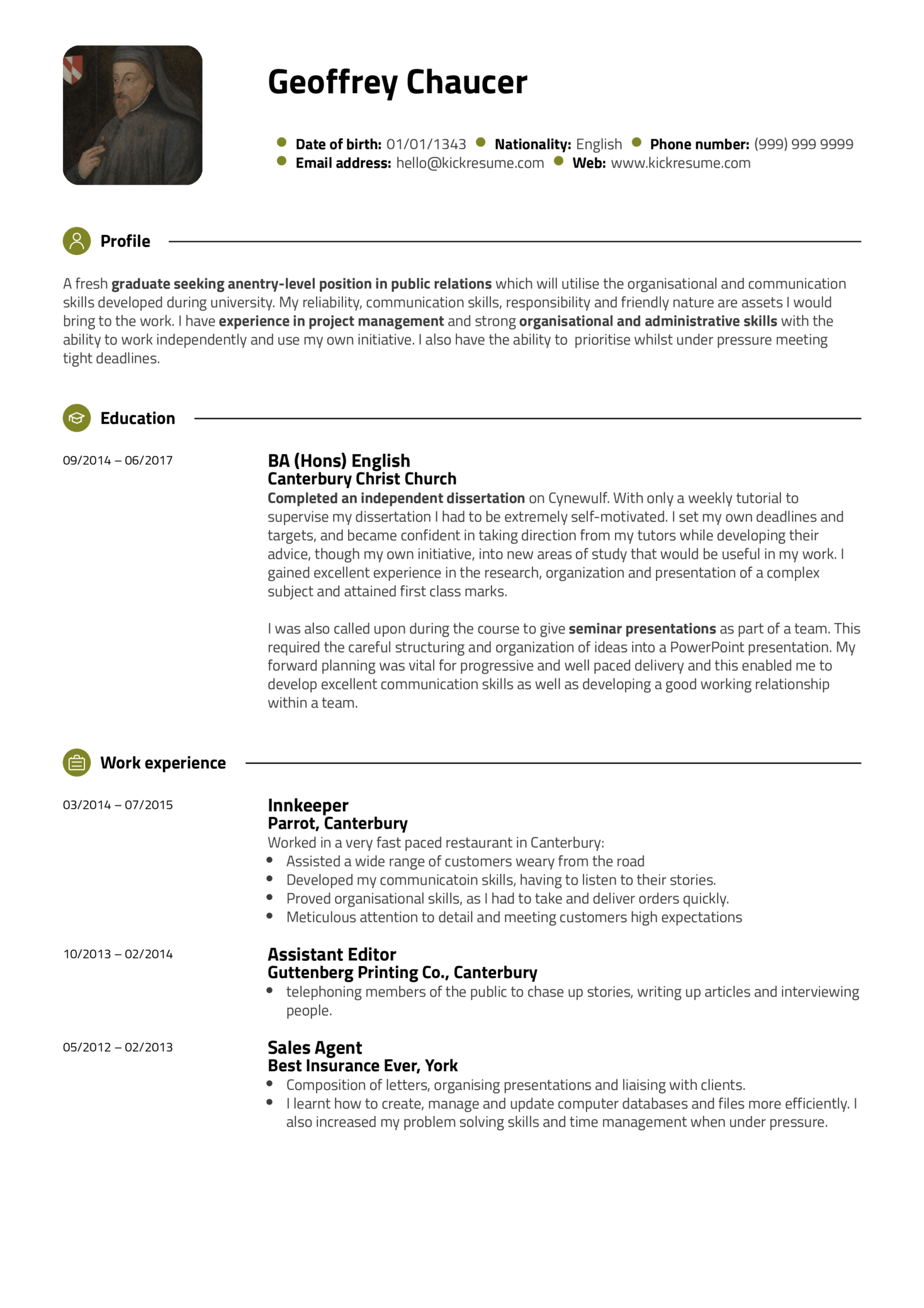 Public relations resume example