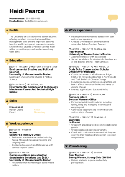 University of Massachusetts Boston Intern Resume Example
