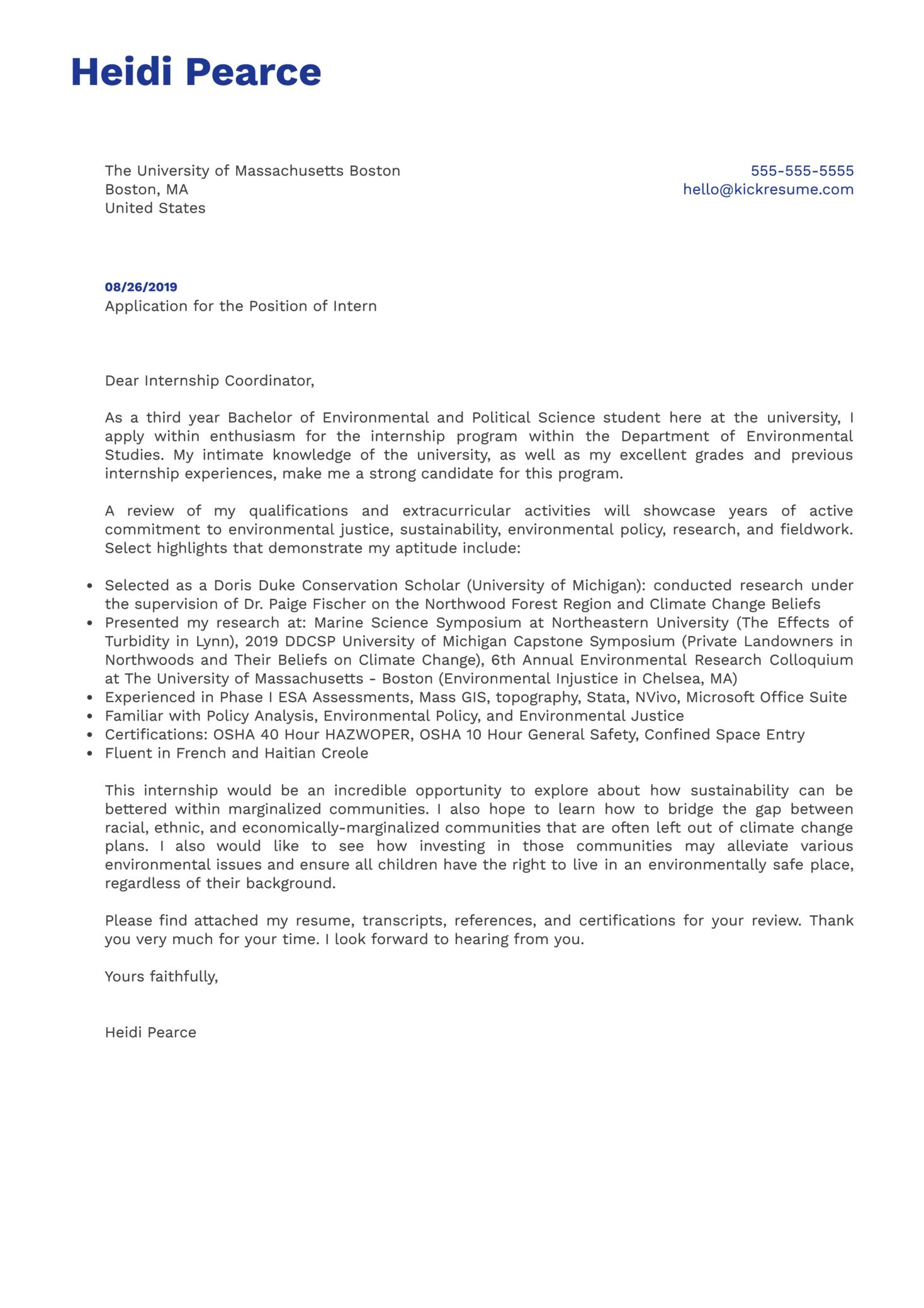 University of Massachusetts Boston Intern Cover Letter Example
