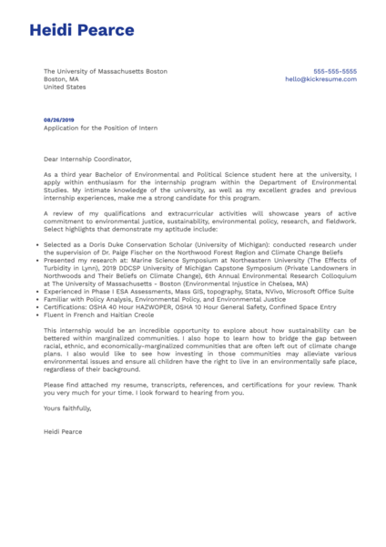 University of Massachusetts Boston Intern Cover Letter Example