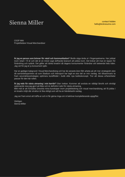 coop project manager cover letter swedish