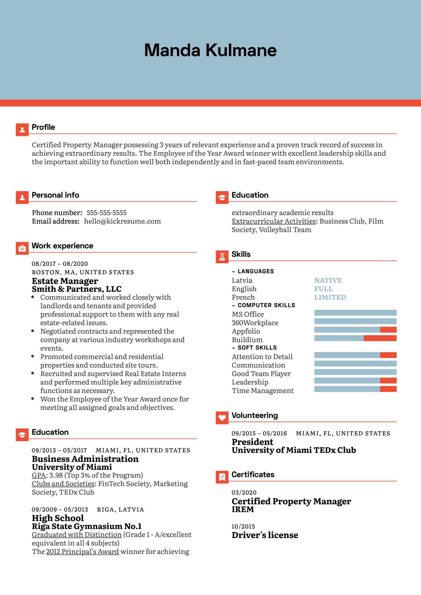 Estate Manager Resume Sample