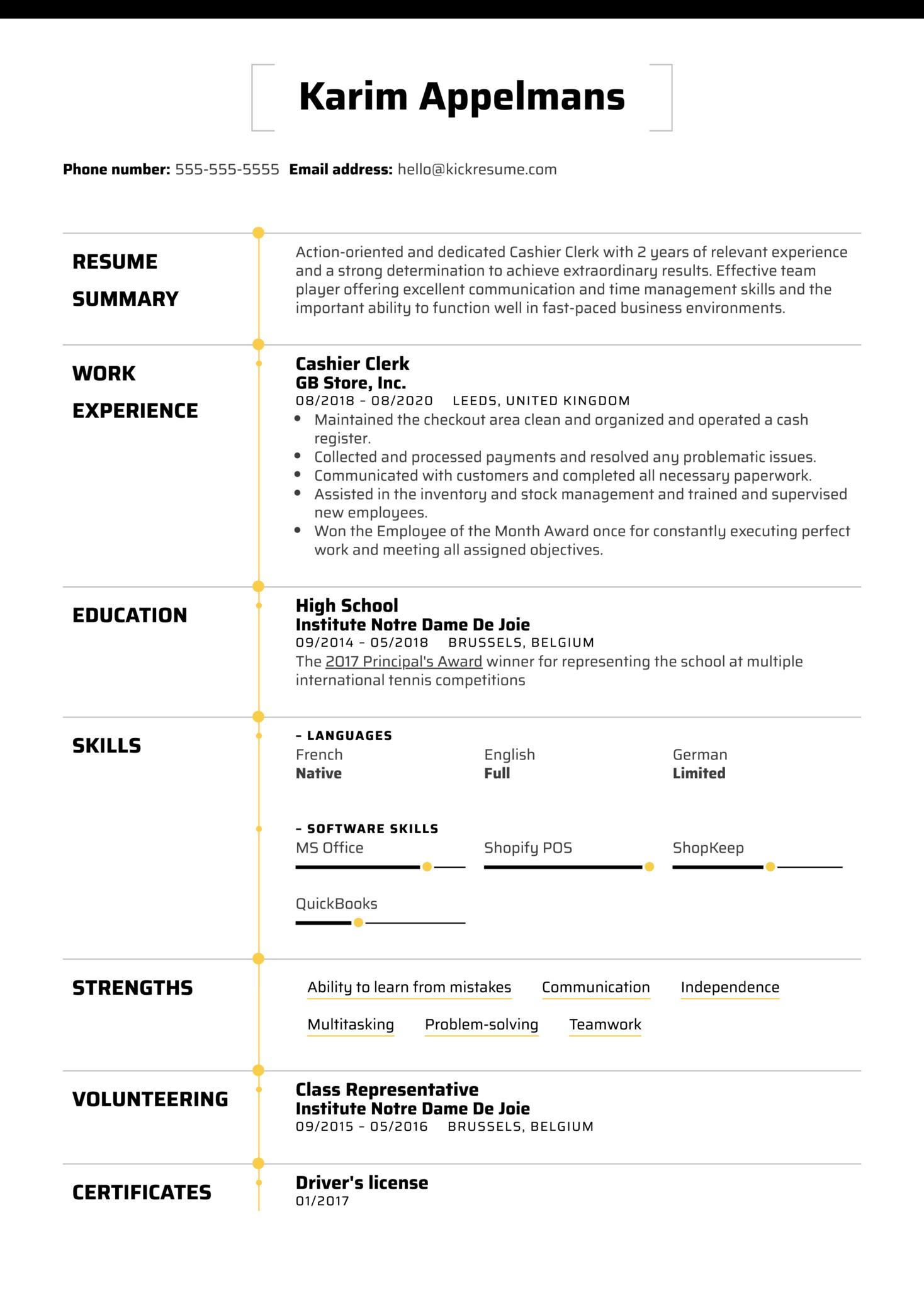 Cashier Clerk Resume Example