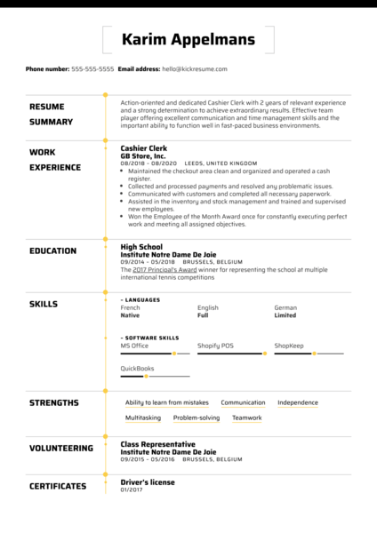 Cashier Clerk Resume Example