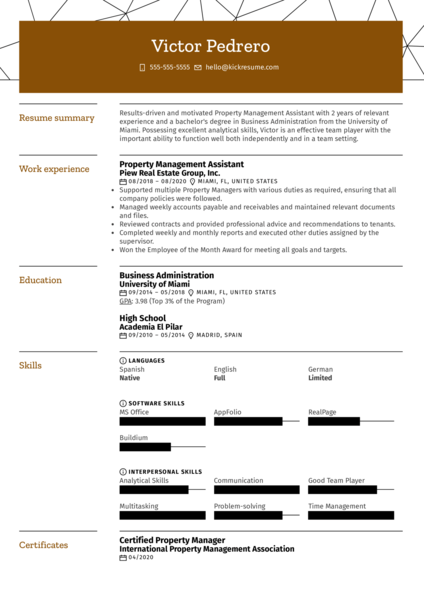 Property Management Assistant Resume Sample