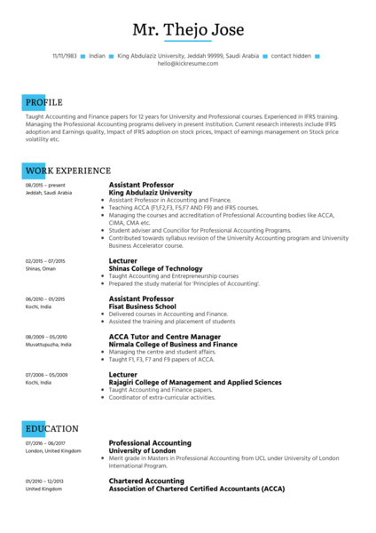 King Abdulaziz University assistant professor resume sample