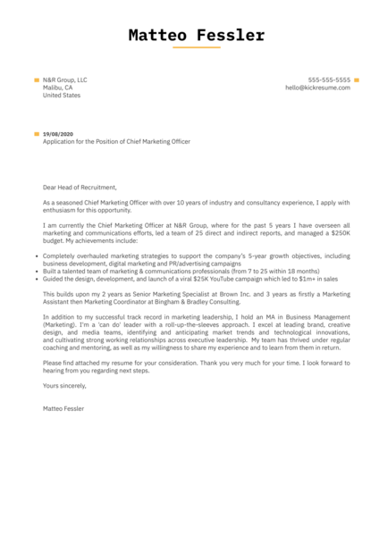 Chief Marketing Officer Cover Letter Example