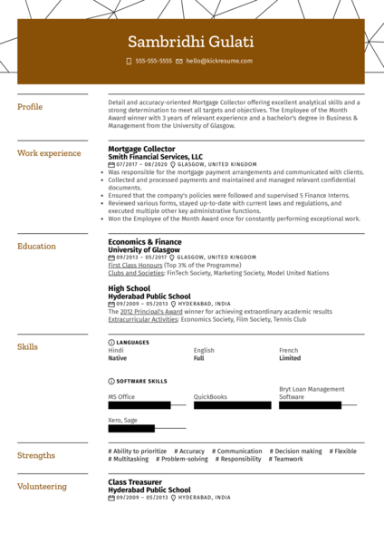 Mortgage Collector Resume Example