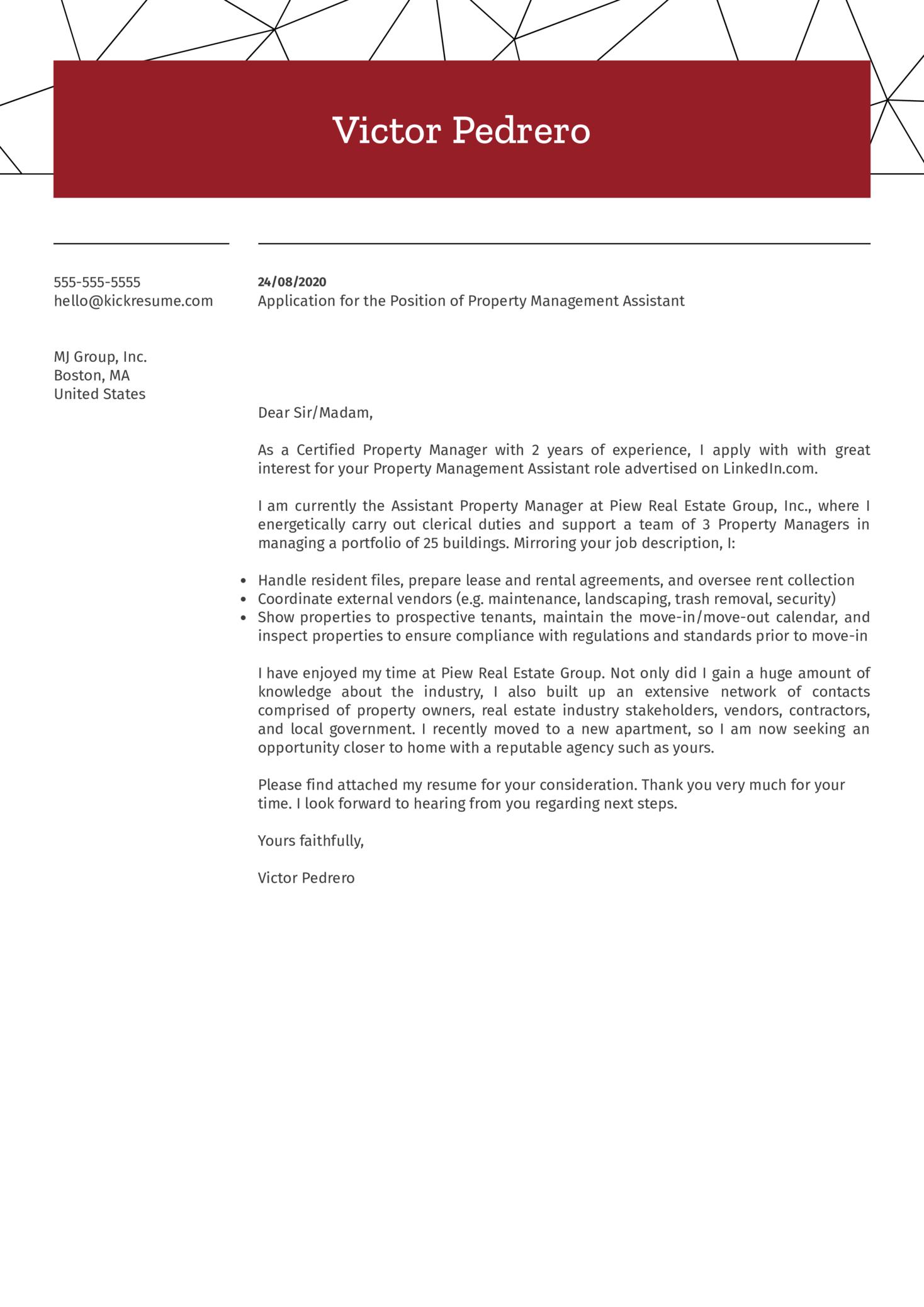 Property Management Assistant Cover Letter Sample