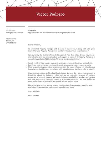Property Management Assistant Cover Letter Sample