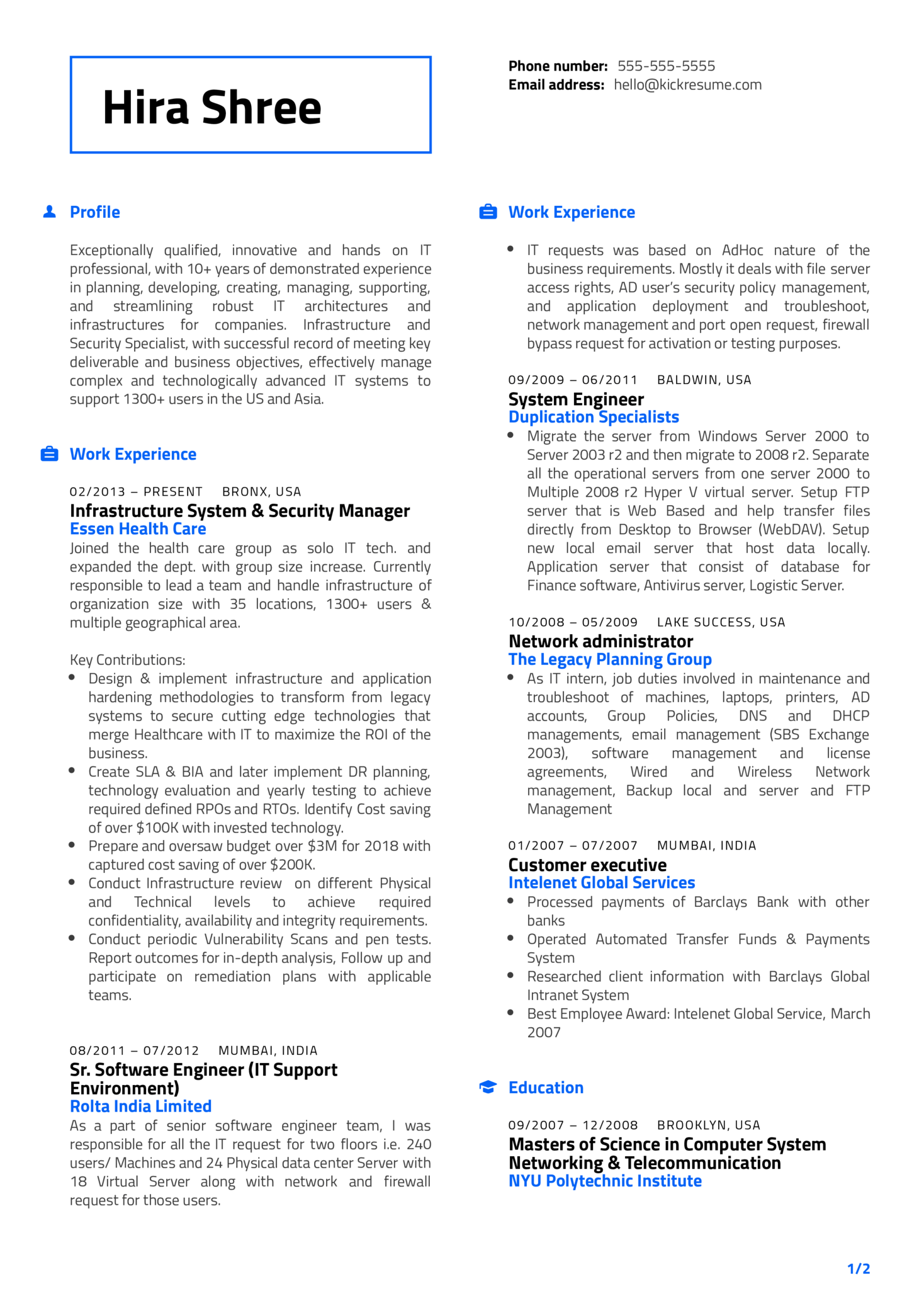 Essen Health Care IT Manager Resume Example