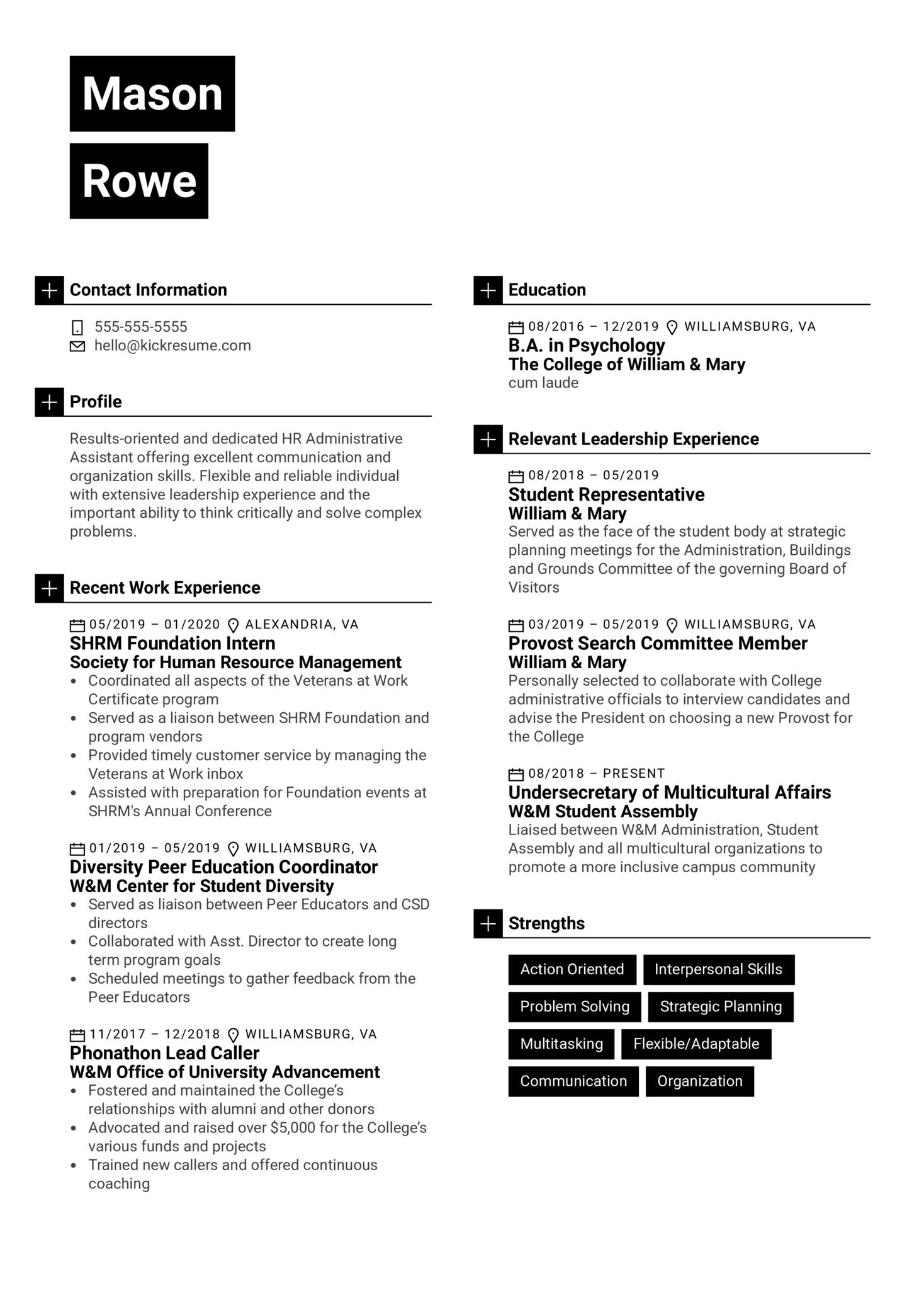 Robert Half HR Administrative Assistant Resume Example