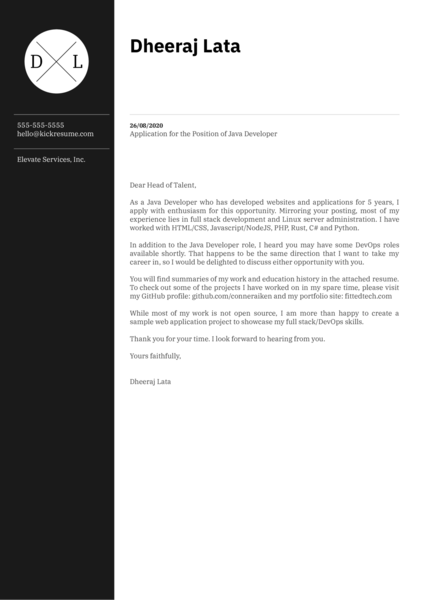 Elevate Services Java Developer Cover Letter Example