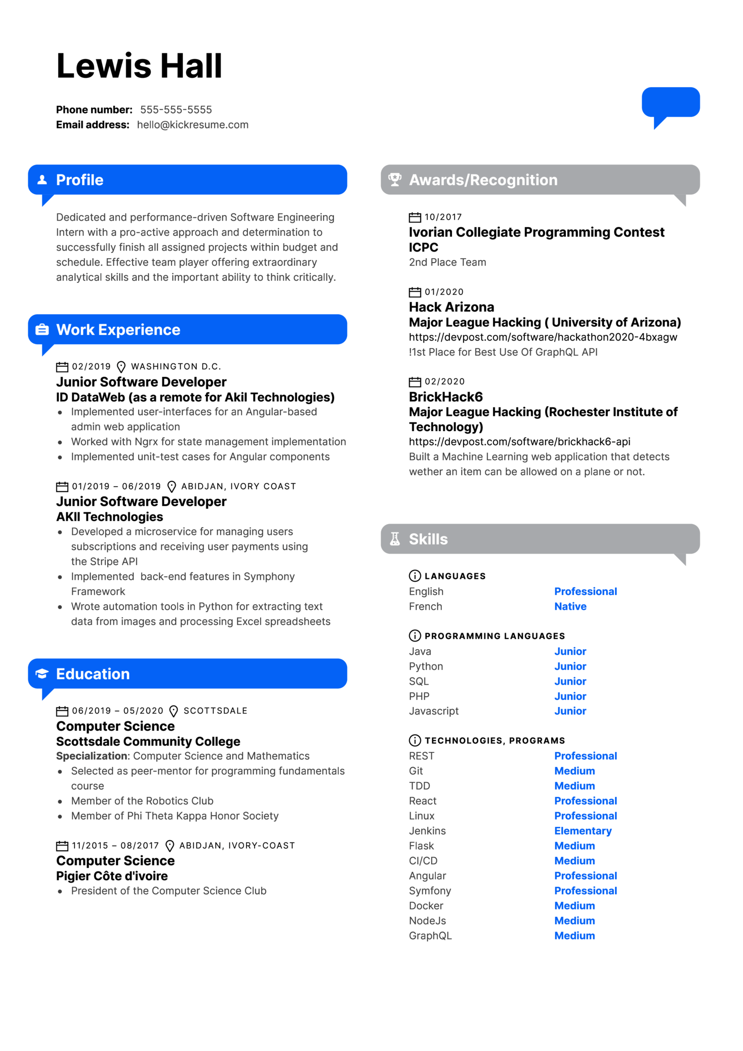 CampusLogic Software Engineering Intern Resume Example