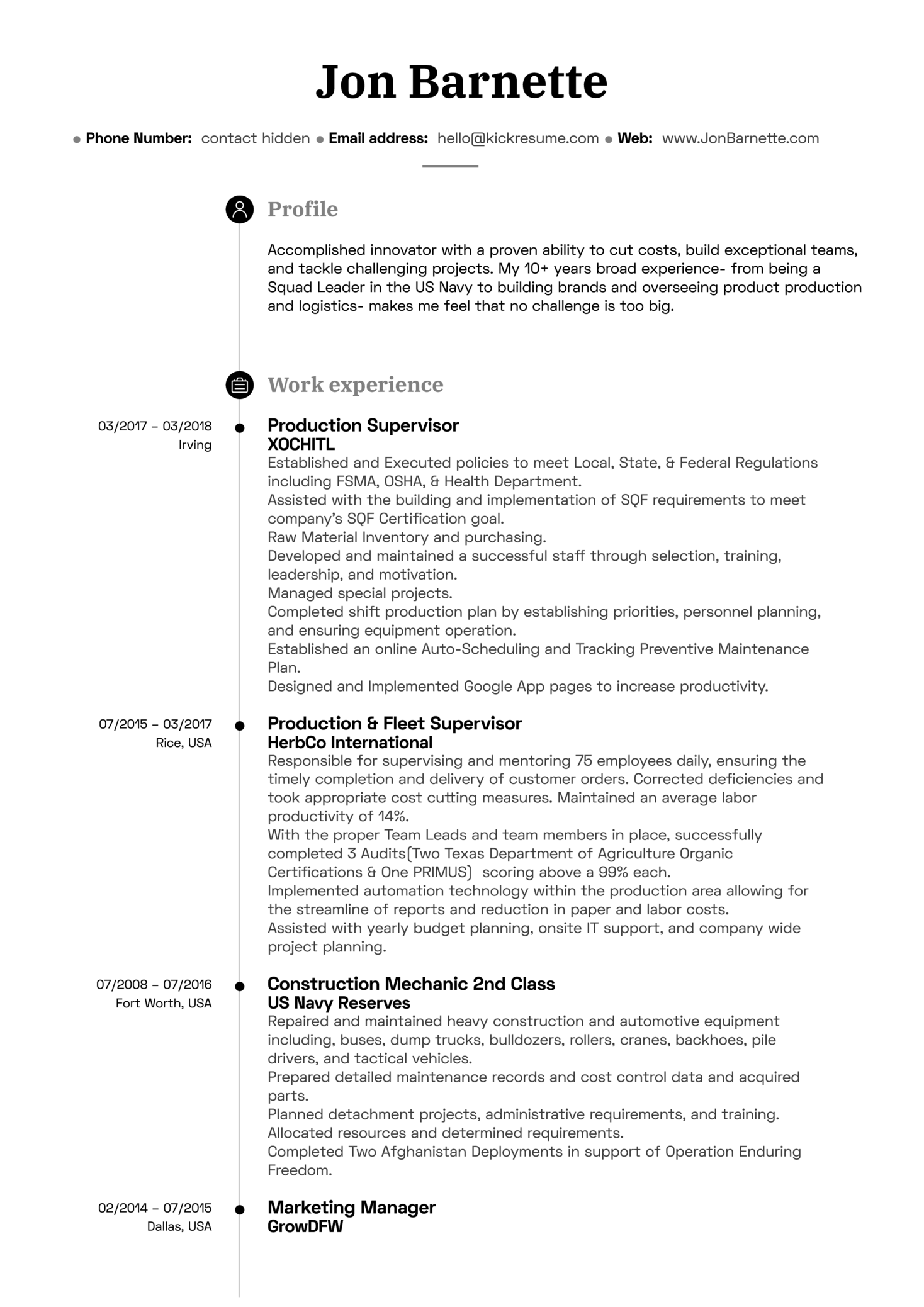 Production Manager Resume Example