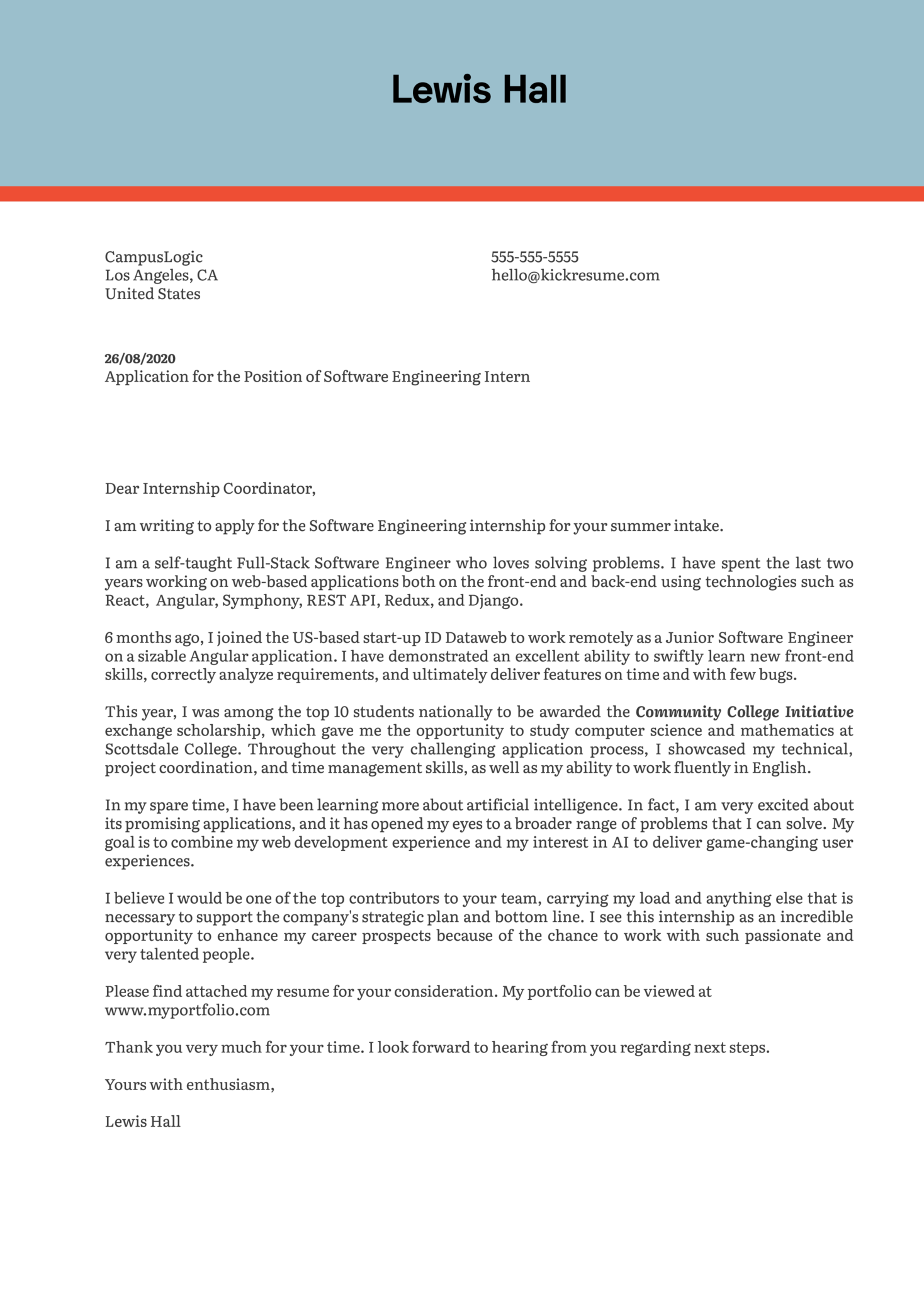 Software Engineering Intern Cover Letter Example