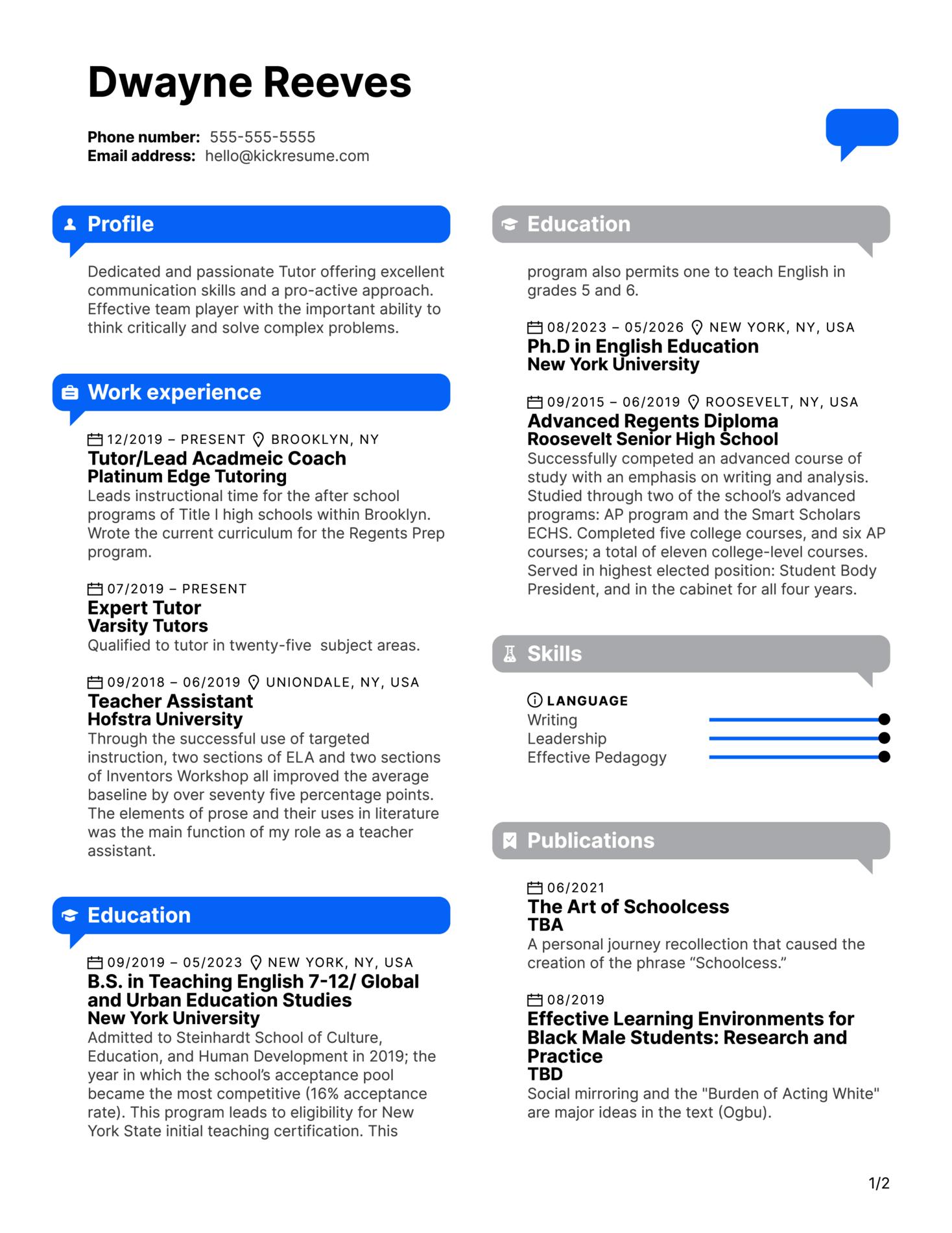 Tutor Resume Sample (časť 1)