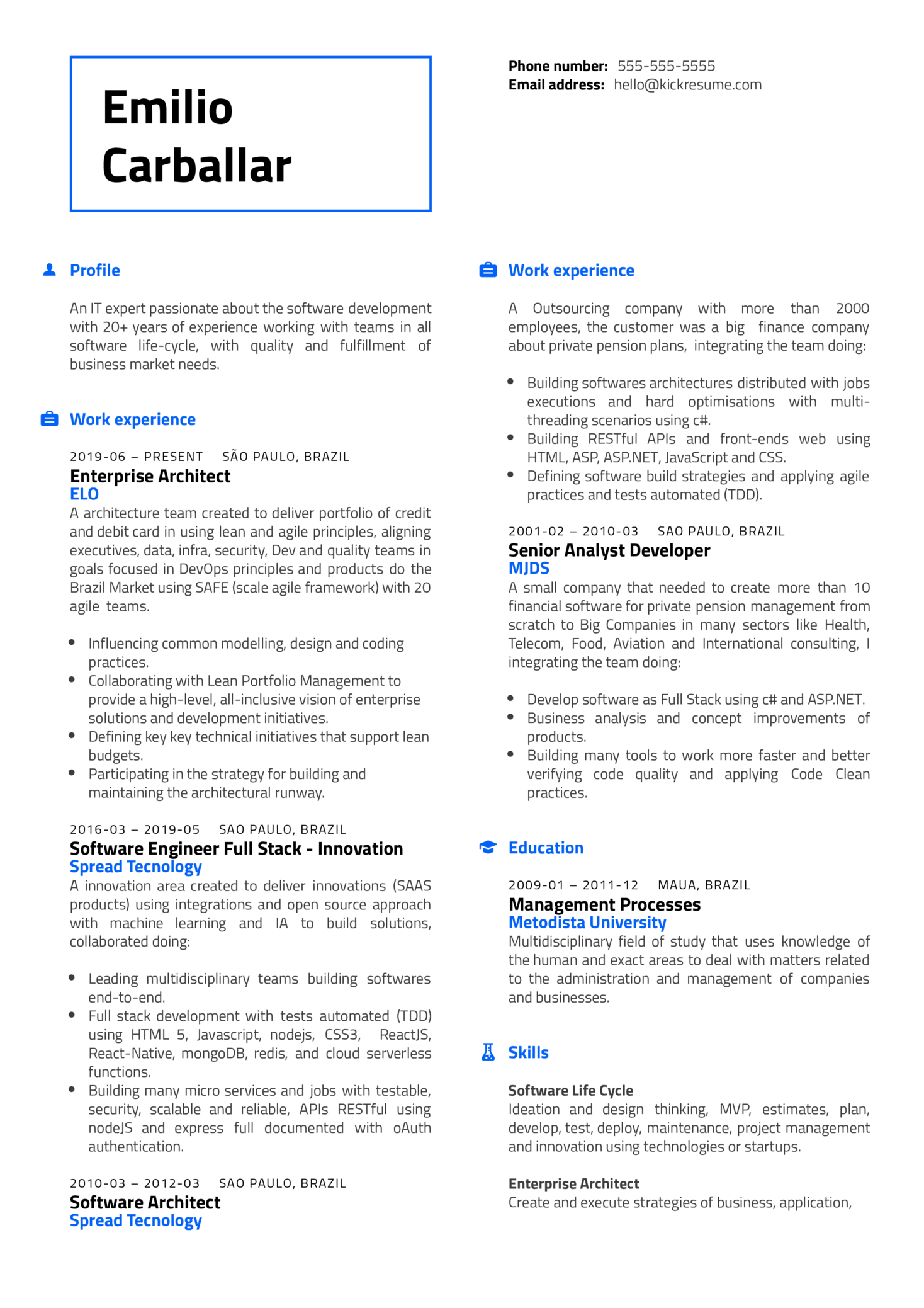 Amazon Web Services Senior Advisory Consultant Resume Example (Part 1)