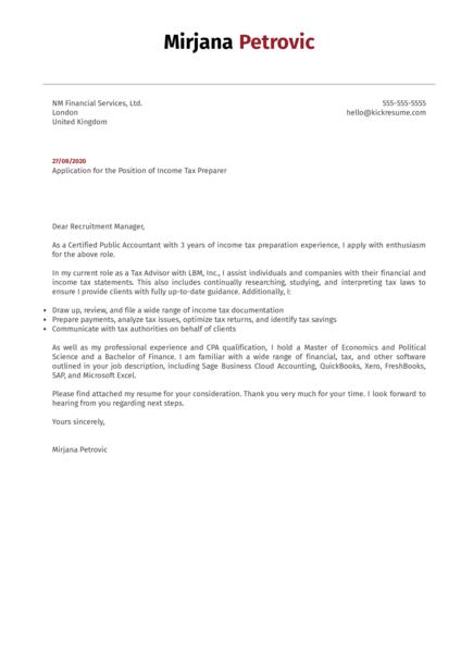 Income Tax Preparer Cover Letter Example
