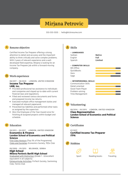 Income Tax Preparer Resume Example