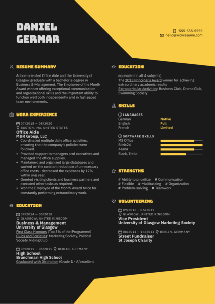 Office Aide Resume Sample