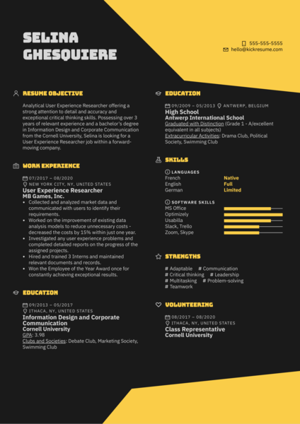 User Experience Researcher Resume Example