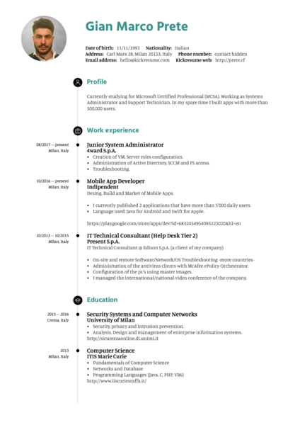 Mobile developer resume example