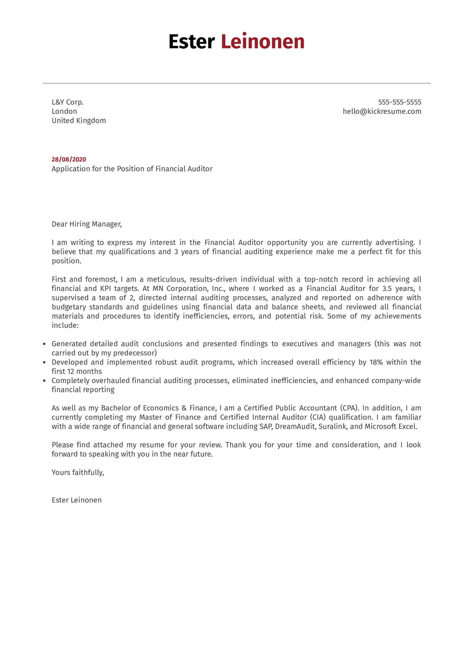 Financial Auditor Cover Letter Example