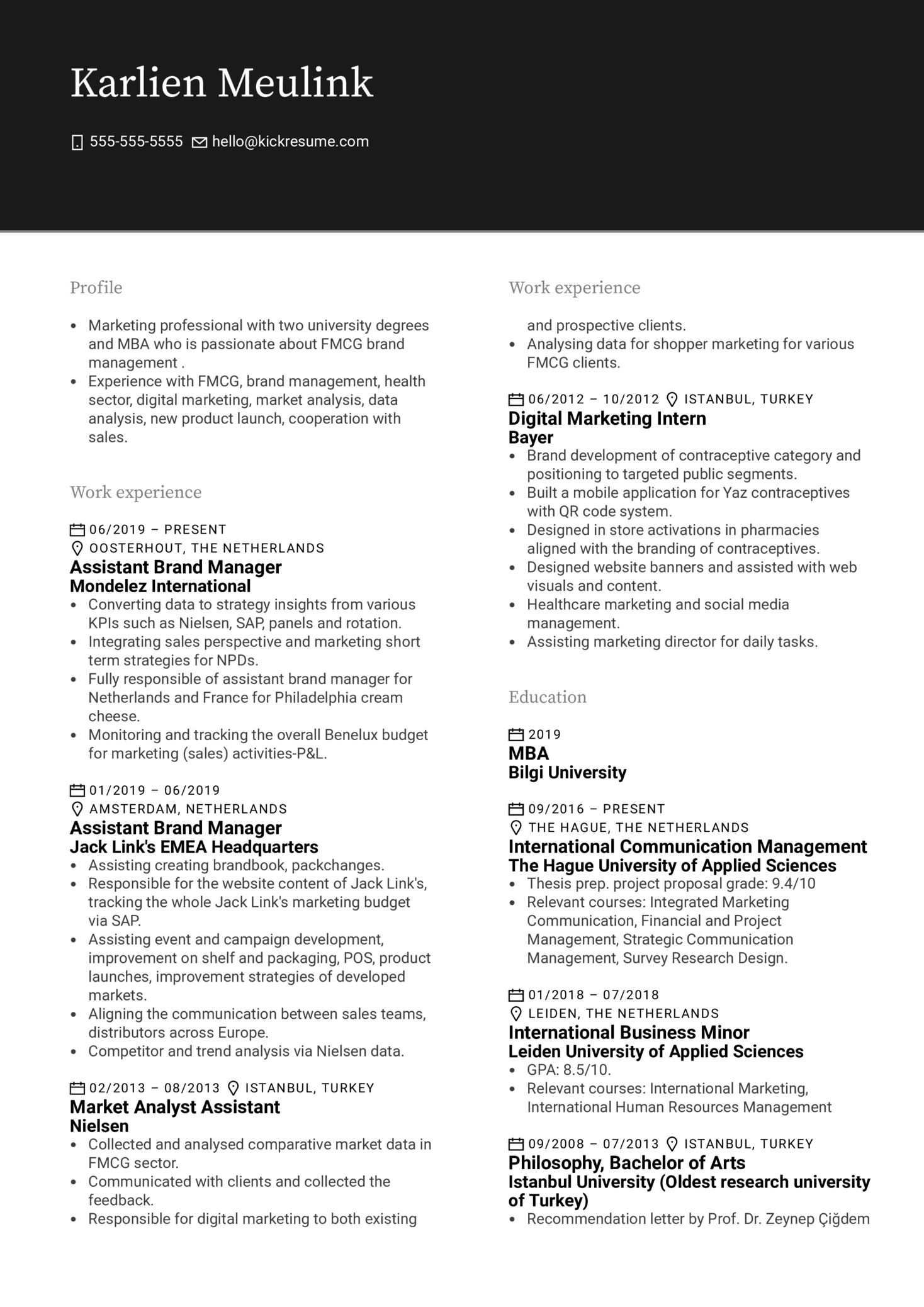 Mondelez International Assistant Brand Manager Resume Example
